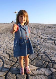 Girl And The Muddy Volcanoes Stock Photography