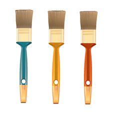 Three Shiny Brushes Royalty Free Stock Image
