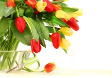 Free Colored Tulips With Glass Vase Stock Photos - 4252293