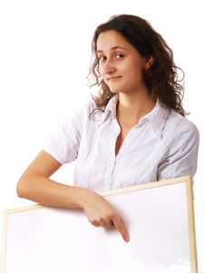 Free Young Woman Holding A White Board Stock Photo - 4252900