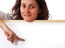 Young Woman Holding A White Board Royalty Free Stock Photos