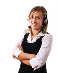 Free Woman Wearing A Headset Stock Photography - 4253712