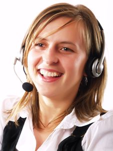 Free Woman Wearing A Headset Royalty Free Stock Image - 4253806