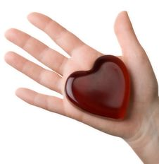 Free Glassy Heart On The Woman S Palm Royalty Free Stock Photography - 4254167