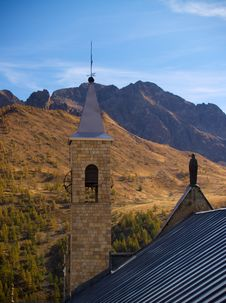 Free Church And Mountains Royalty Free Stock Photo - 4255025