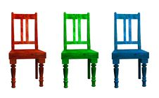 Free Three 3D Chairs Royalty Free Stock Photography - 4258377