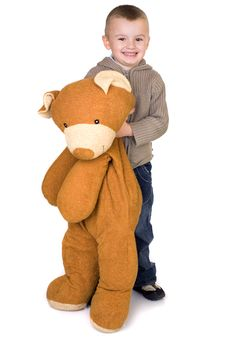 Free Boy And A Teddy Bear Royalty Free Stock Photo - 4259205