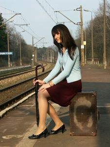Girl Waiting For The Train Stock Image