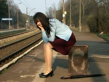 Free Girl Waiting For The Train Stock Photo - 4259500