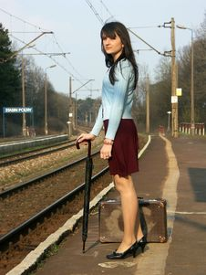 Girl Waiting For The Train Stock Photography