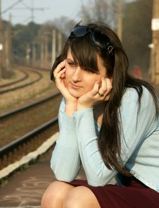 Free Girl Waiting For The Train Stock Photo - 4259590