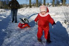 Free Child With A Sled Royalty Free Stock Photography - 4259657