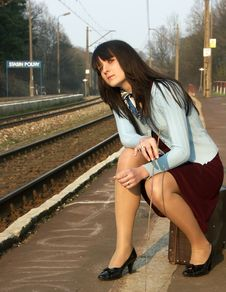 Free Girl Waiting For The Train Stock Images - 4259694
