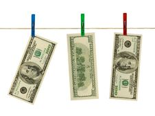 Free Money On Clothespins Royalty Free Stock Photography - 4259967
