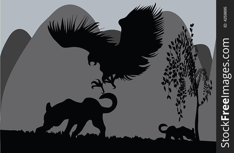 Eagle and leopard