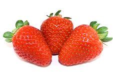 Free Three Strawberries Closeup Isolated Stock Photo - 4261450
