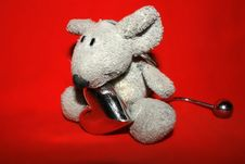 Cute Mouse With Silver Heart Royalty Free Stock Photography