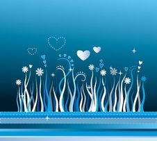 Free Background With Grass, Stripes, Flowers And Hearts Royalty Free Stock Photos - 4262068