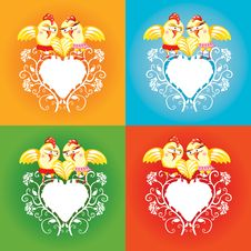 Free Design With Heart And Birds Royalty Free Stock Photography - 4262157