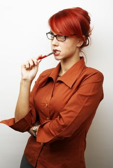 Free Pensive Business Woman Stock Image - 4262931