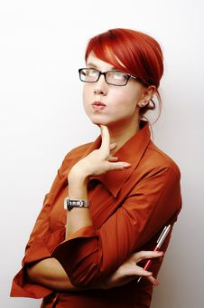 Free Pensive Business Woman Royalty Free Stock Photo - 4262935