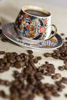 Free Cup Of Coffee And Grains Stock Images - 4264324