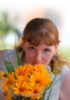 Free Woman With Flowers Stock Photos - 4264813