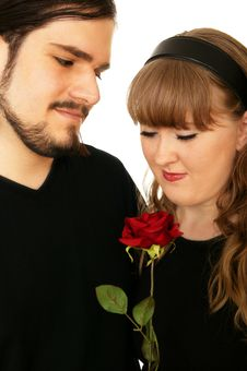 Free Romantic Couple Holding Rose Stock Photos - 4265313