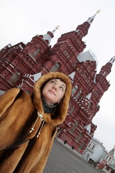 Free Girl In The Red Square Stock Photography - 4266212