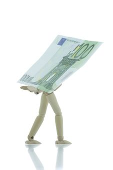 Manikin Carrying Hundred Euro Bill Royalty Free Stock Images