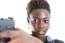 Free Woman Aiming A Gun Royalty Free Stock Images - 4267359