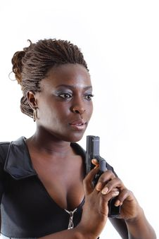 Free Woman Aiming A Gun Stock Photography - 4267382