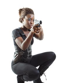 Free Woman Aiming A Gun Stock Photos - 4267383