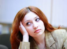 Girl With Reddish Hair Royalty Free Stock Images