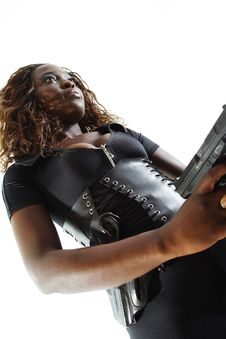 Free Woman Aiming A Gun Royalty Free Stock Photo - 4267565