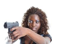 Free Woman Aiming A Gun Royalty Free Stock Image - 4267576