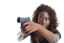 Free Woman Aiming A Gun Stock Image - 4267581