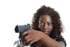 Free Woman Aiming A Gun Royalty Free Stock Image - 4267586