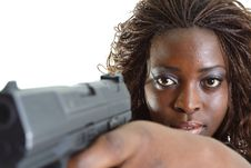 Free Woman Aiming A Gun Stock Image - 4267591