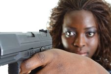 Free Woman Aiming A Gun Stock Image - 4267601