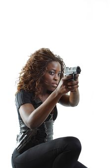 Woman Aiming A Gun Stock Photography