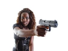 Free Woman Aiming A Gun Stock Images - 4267774