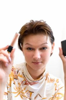 Woman Preparing To Make-up Stock Photography