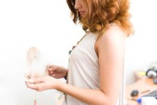 Free Girl In Office Unfold Fan Royalty Free Stock Image - 4269176