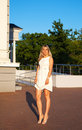 Free Young Woman In White Dress Posing Standing In A Park Royalty Free Stock Photo - 42684925