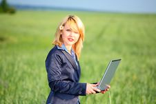 Free Girl With Laptop Stock Photography - 4271632