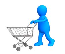 The 3d Stylized Person Going For Purchases Stock Image