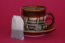 Free Cup And Tea Bag On Red Royalty Free Stock Photo - 4271965