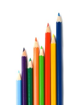 Laying Color Pencils Stock Photography