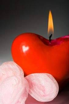 Free Red Shape Heart Candle Stock Photography - 4272952